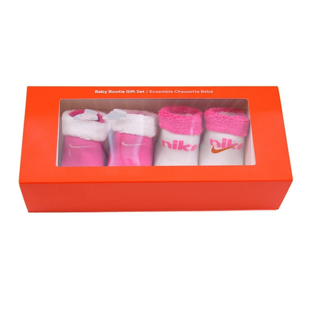 Nike Baby Bootie-Pack 2 Paires Chaussettes White-Pink Pointure 16-18 EUR