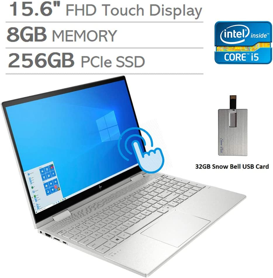 "2020 HP Envy x360 2-in-1 15.6"" FHD Touchscreen Laptop Computer, Intel i5-1035G1, 8GB RAM, 256GB PCIe SSD, Backlit KB, Intel UHD Graphics, Alexa Built-in, Win 10, Silver, 32GB Snow Bell USB Card"