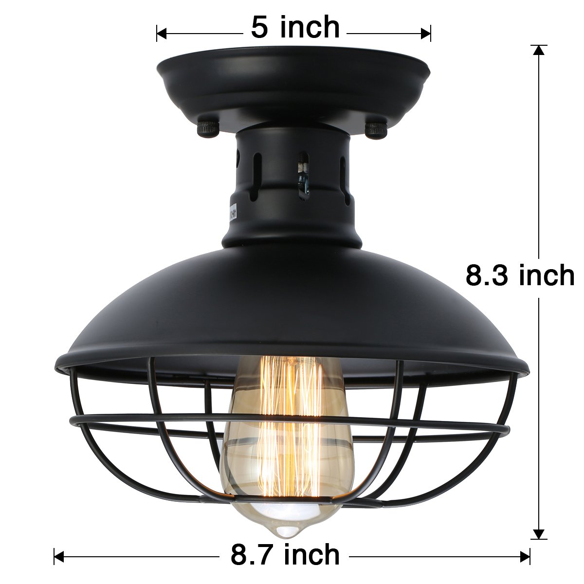 KingSo Industrial Metal Cage Ceiling Light, E26 Rustic Mini Semi Flush Mounted Pendant Lighting Dome/Bowl Shaped Lamp Fixture for Country Hallway Kitchen Garage Porch Bathroom by KINGSO (Image #6)