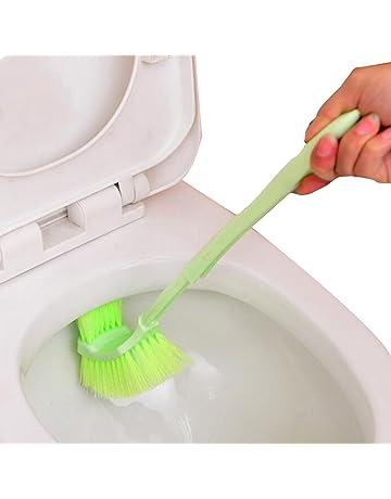 LovelyLifeAST Lavabo portátil Cepillo de plástico Mango Largo baño de Inodoro de Doble Cara Scrub Cepillo