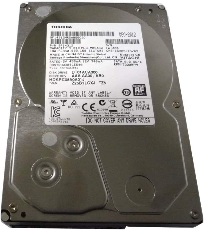 Toshiba 3.5-Inch 3TB 7200 RPM SATA3/SATA 6.0 GB/s 64MB Hard Drive DT01ACA300 (Renewed)