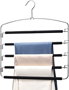 HOUSE DAY Pants Hangers 5 Layers Multi Space Saving Pants Hanger Trouser Hanger -6 Pack - Closet Storage Organizer Multiple Hangers for Pants Jeans Pants Hangers Space Saving Scarf Hangers for Pants