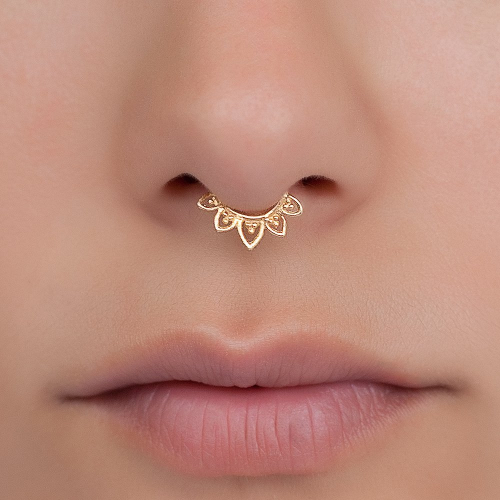 Fake Septum Nose Ring, Indian Lotus Shaped Faux Brass Clip On Non Pierced Septum Hoop, 18g, Handmade Piercing Jewelry by Umanative Design