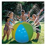 Beach Ball Sprinkler Water Spray Ball Inflatable Sprinkler Ball Water Toy Splash Ball 30 in-Diameter Outdoor Fun Toy for Hot Summer Swimming Children Kids Party Beach Pool Play Garden Hose Required