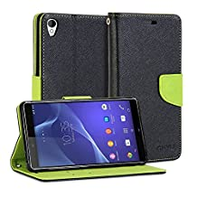 Sony Xperia Z3 Case, GMYLE Wallet Case Classic for Sony Xperia Z3 - Black & Wasabi Green Cross Pattern PU Leather Slim Stand Case Cover (Not fit for Xperia Z3 Compact / Z3v)