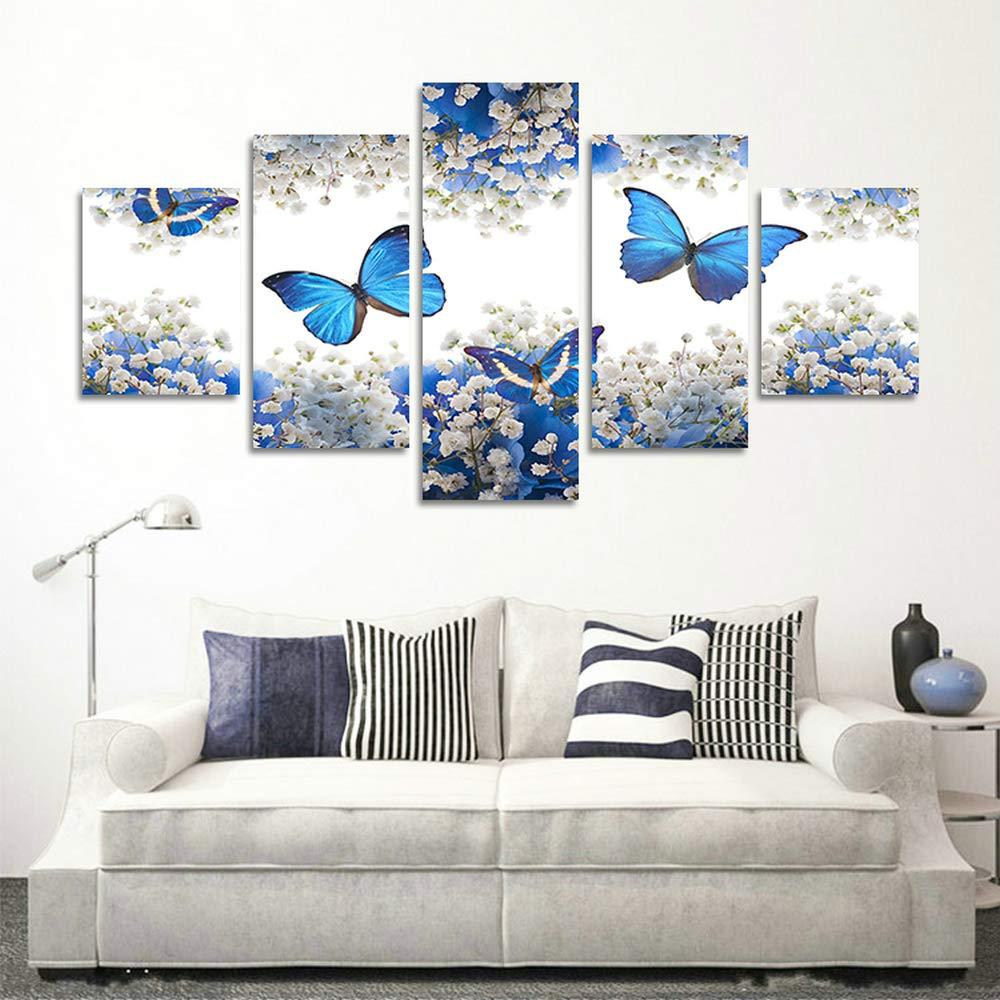 5 Pannelli Fiori incorniciati Blossom Blu Bianco Farfalle Opere darte moderna Stampe su tela gicl/ée Quadri astratti Quadri su tela for Camera da letto Decorazioni per la casa Decorazione della parete