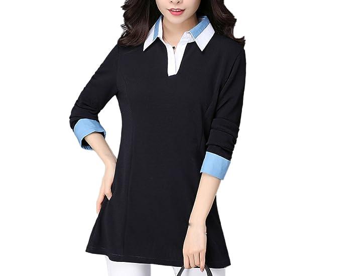 Camiseta De Manga Larga Suelta De Mujer Tops Camisa De Cuello Blusa Negra Moda Casual Pullover