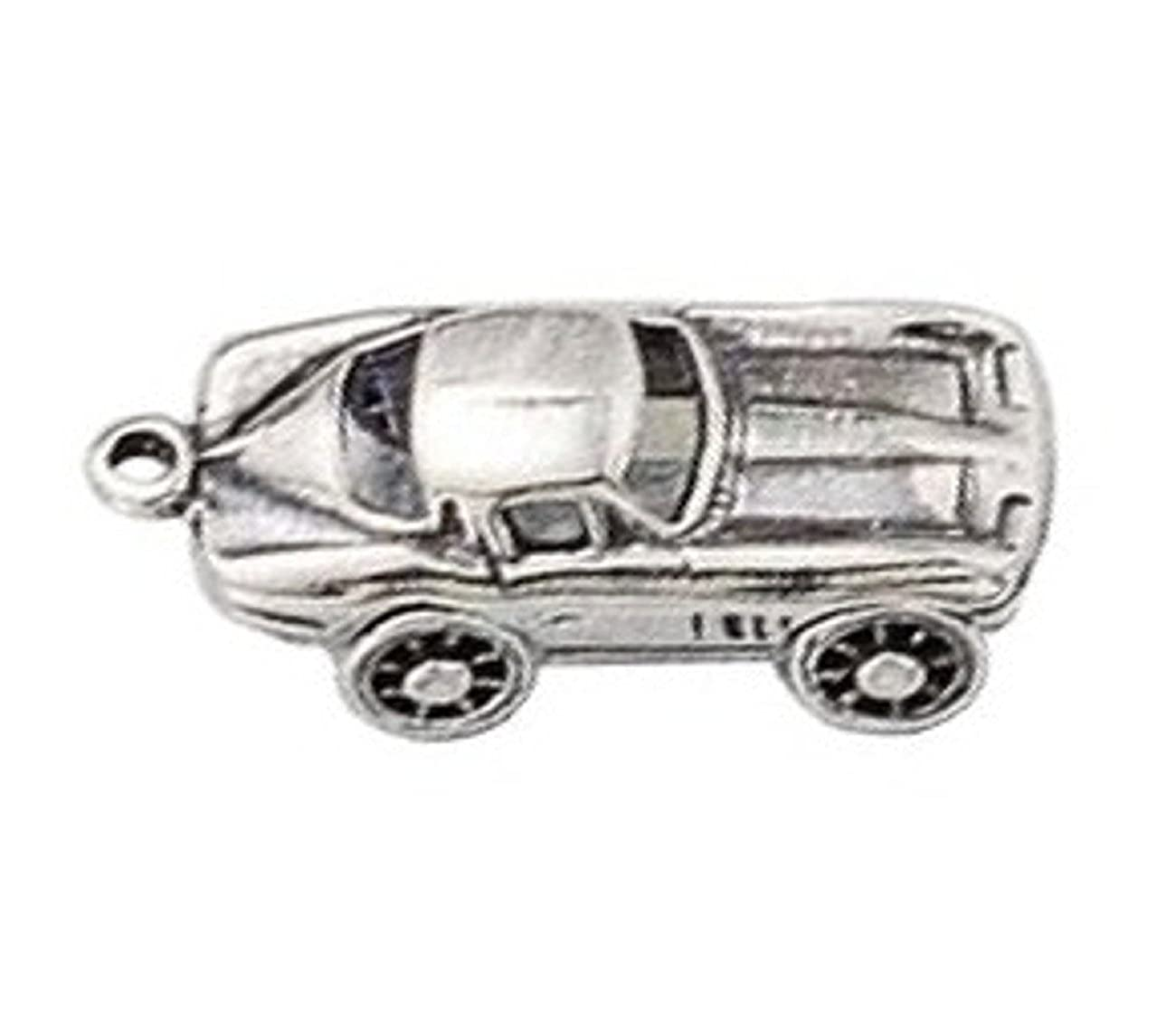 Sterling Silver 7 4.5mm Charm Bracelet With Attached 3D Two Door Sports Car Charm