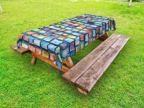 Ambesonne Geometric Outdoor Tablecloth, Colorful Mosaic Tiles Pattern Brick Wall Design with Grunge Effect Worn Out Look, Decorative Washable Picnic Table Cloth, 58 X 120 Inches, Multicolor