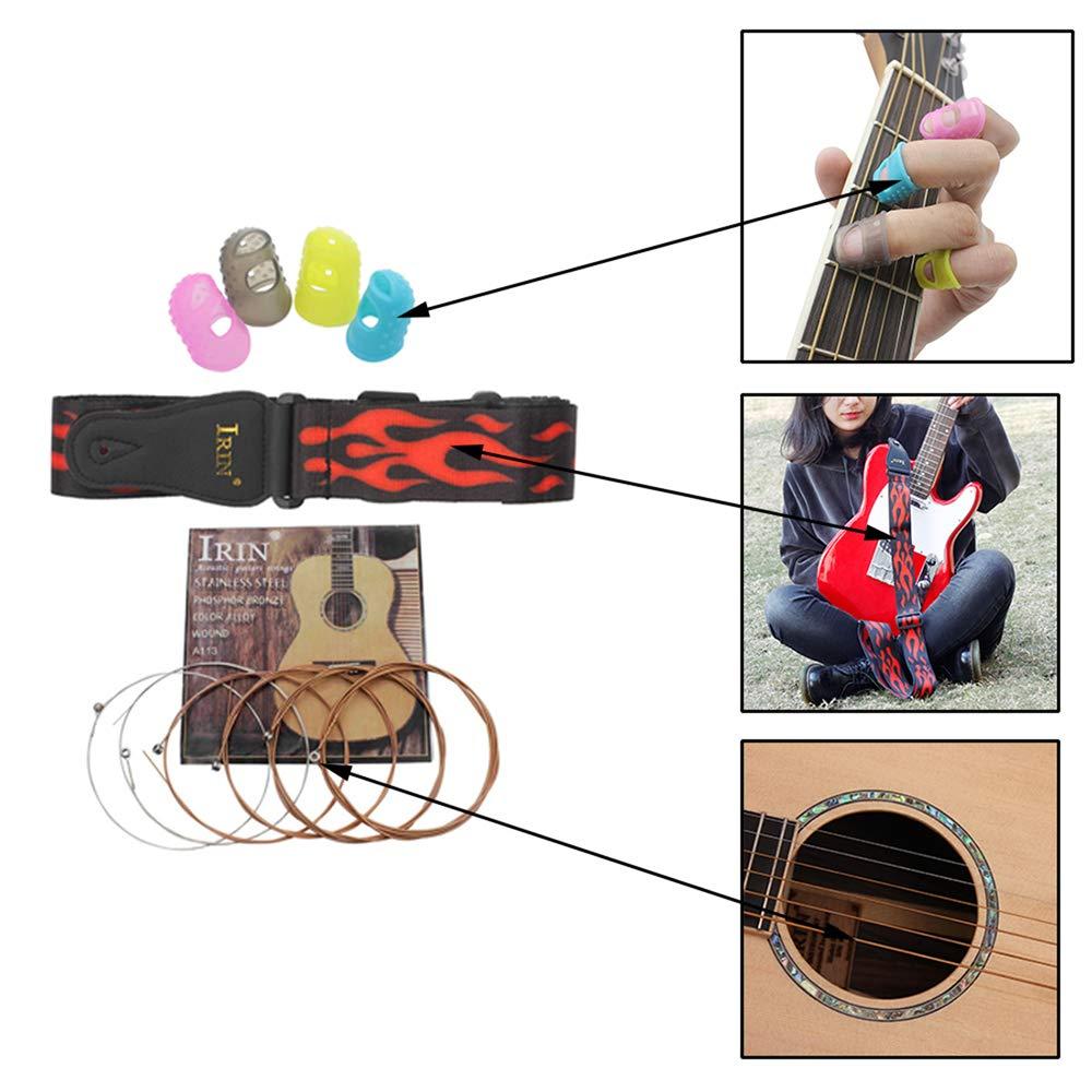 livraison de couleurs al/éatoire des cordes de guitare et des protecteurs de doigts pour les d/ébutants en guitare Kalaok Kit accessoires de guitare folk acoustique comprenant une sangle de guitare