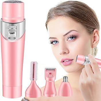 4 en 1 Afeitadora mujer cara Mini Señora Eléctrica Shaver Trimmer ...