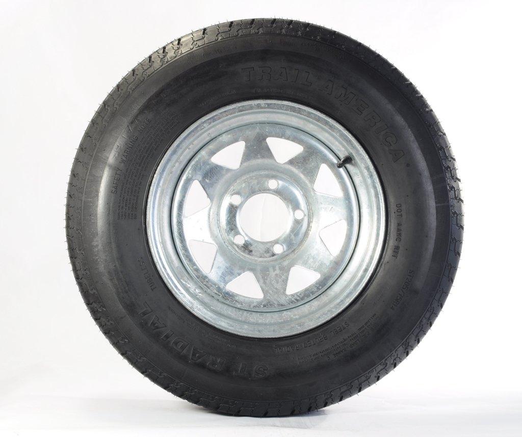 Radial Trailer Tire + Rim ST205/75R15 205/75-15 15 5 Lug Wheel Galvanized Spoke