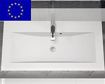 Waschbecken design eckig  Einbau-Waschbecken 90x45x15cm eckig | 90cm Design-Einbau ...