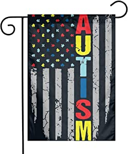 Autism Awareness American Flag Garden Flag House Banner for Party Yard Home Outdoor Decor