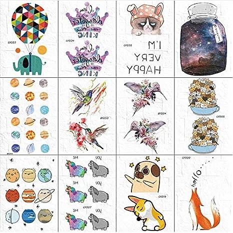 yyyDL Dibujos animados lindos divertidos tatuajes temporales ...