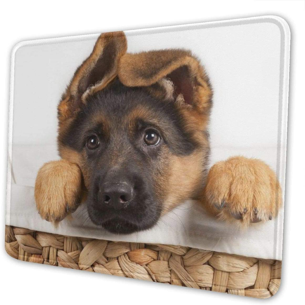Mouse Pad Lovely Dog German Shepherd Non-Slip Rubber Base Stitched Edges Gaming Mousepad for Computers Laptop