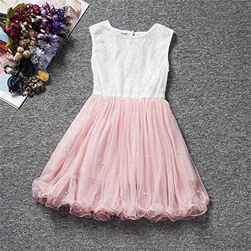 0367896c7a6e9b ... Prinzessin Pink Baby Kleid Ärmellos 3-8 Für Spitze Sommer Kemosen Kinder  Mädchen Jahre Kleider ...