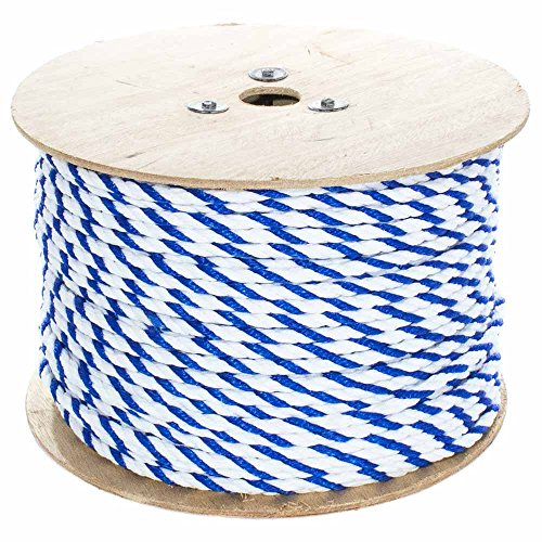West Coast Paracord Twisted Polypropylene Pool Rope - 3 Strand Polypro Cord - Lightweight Utility Rope for Safety Lines, Pool Lanes - Blue and White (3/8 Inch x 50 Feet) ()