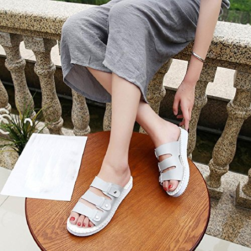 f85d974f47cb Fheaven Women Flat Sandals Slippers Shoes Summer Open Toe Leather Casual  Beach Chic Soft Sole Sandals