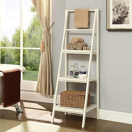 estantería de librería de Escalera de Madera Maciza de 4 Niveles Unidad Almacenamiento Inclinada Azul/marrón / Blanco 46 * 34 * 134cm (Color : Blanco): Amazon.es: Hogar