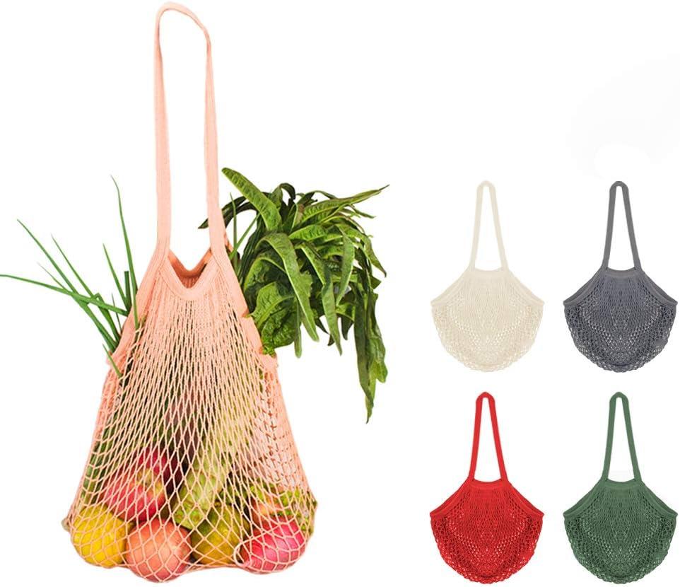 5Pcs Net Cotton String Shopping Bag, Creatiee Reusable Mesh Market Tote Organizer for Grocery Shopper Produce Storage Beach Toys Fruit Vegetable - Less Plastic(5 Colors) (Long Handle)