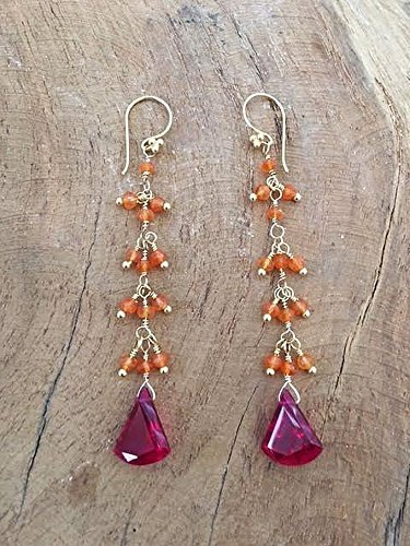 - Deep Pink Corundum with Carnelian and Gold Vermeil Earrings