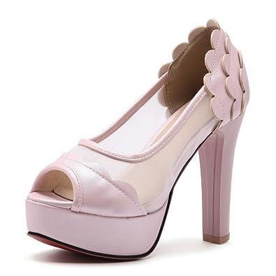 SHOWHOW Damen Elegant Suede Peep Toe Plateau High Heels Pumps
