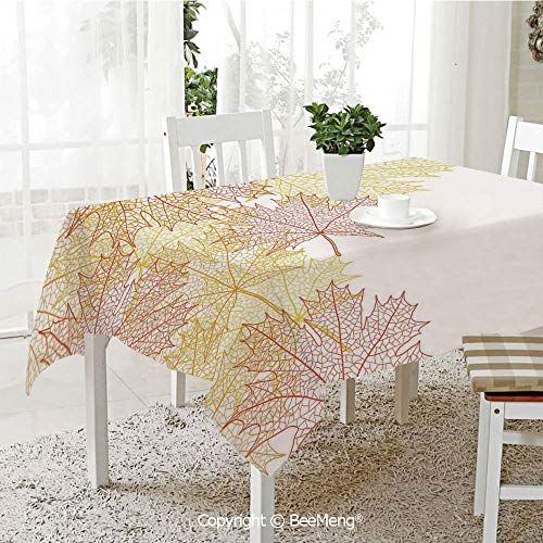 BeeMeng Dining Kitchen Polyester dust-Proof Table Cover,Leaves,Pattern with Maple Tree Fall Leaves Skeleton Dried Golden Forms Halloween Decoration Decorative,Red Yellow,Rectangular,59 x 59 inches -