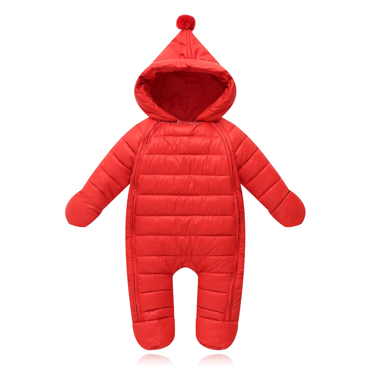 Unisex Baby Boys Girls Footed Jumpsuit Pram Bunting One-Piece Romper Winter Outerwear Jacket Snow Coat Infant Toddler Costume, Red, 5-10 Months by Ohrwurm