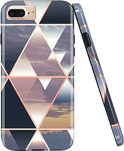 JIAXIUFEN Shiny Rose Gold Metallic Triangle Colorful Marble Desgin Slim Shockproof Flexible Bumper TPU Soft Case Rubber Silicone Cover Phone Case for iPhone 7 Plus/iPhone 8 Plus/6 Plus/6S Plus