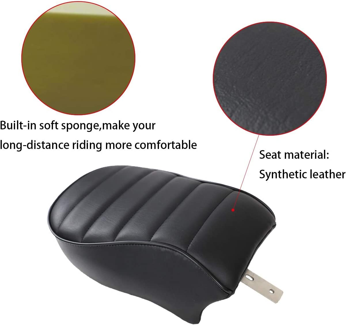 AUFER Black Leather Rear Passenger Pillion Seat for Sportster Iron 883 XL883N 2016-2019