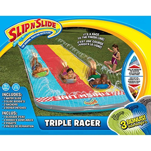 Kids Inflatable Slip N Slide. This Big Triple Racer Kiddie Blow Up Above Ground Long Waterslide Is Great For Toddlers & Children, Bonus 3 Boogies, Aqua Splash To Have Outdoor - Hours Center Independence Holiday