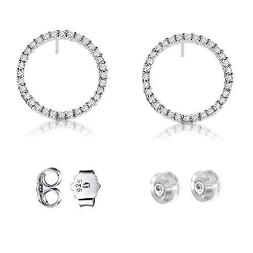 23e4d7cee647e Sterling Silver Circle Earrings Stud with Sparkle Cubic Zirconia for Women  & Girls Piercing Ears,High Polished and Platinum-Plated Stud Earrings for  ...