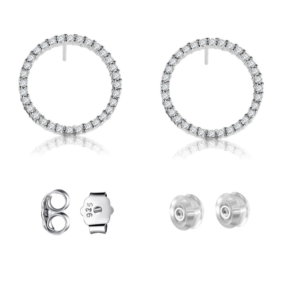 Sterling Silver Circle Earrings Stud with Sparkle Cubic Zirconia for Women & Girls Piercing Ears,High Polished and Platinum-Plated Stud Earrings for Your Sensitive Ear Lobe(Size:14.7mm)