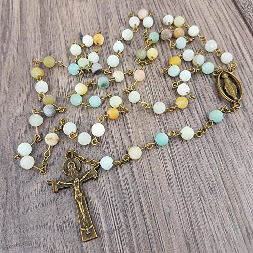 Frosted Amazonite Rosary with Holy Trinity (Death Of The Endless Costume)