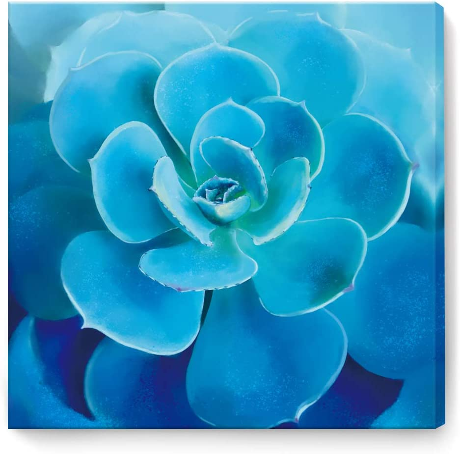 Wall Decor for Bedroom Succulents Print Pictures Canvas Art Work Framed Modern Popular Wall Decorations Wall Art for Living Room Office Blue Succulents Size 20x20 Easy to Hang