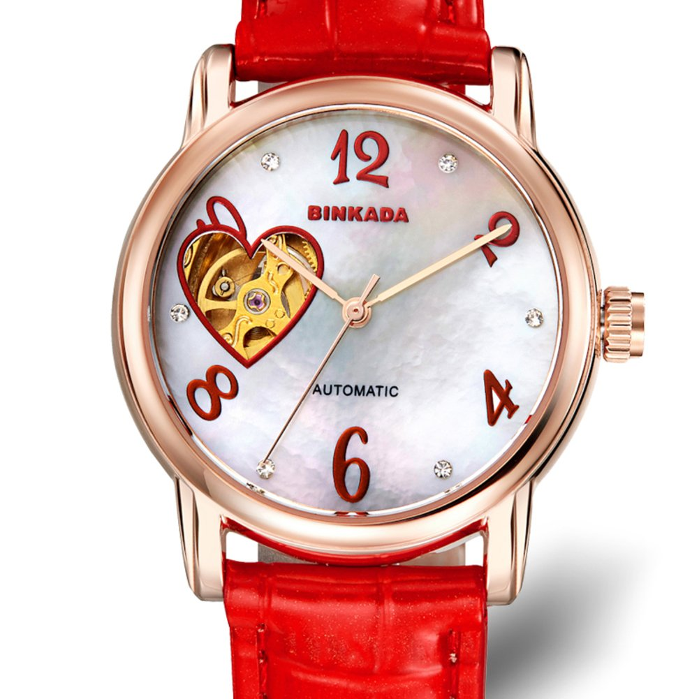 Ladies automatic mechanical watches/ fashion strap watch/ love cut waterproof women's table-D by UEWURTTS (Image #1)