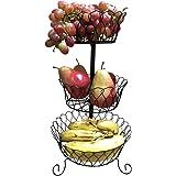 Evelots 3 Tier Black Fruit Basket, Kitchen Organization, Black