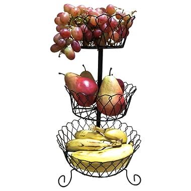 Evelots Decorative Fruit Basket/Stand Countertop Kitchen Organizer, 3 Tier Black