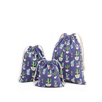 Abaría - 3 unidades bolsa de algodón con cuerdas – Pequeña saco bolsas - Bolsa inserto organizador para bebé ropa juguete pañales - Bolsa de regalo - ...