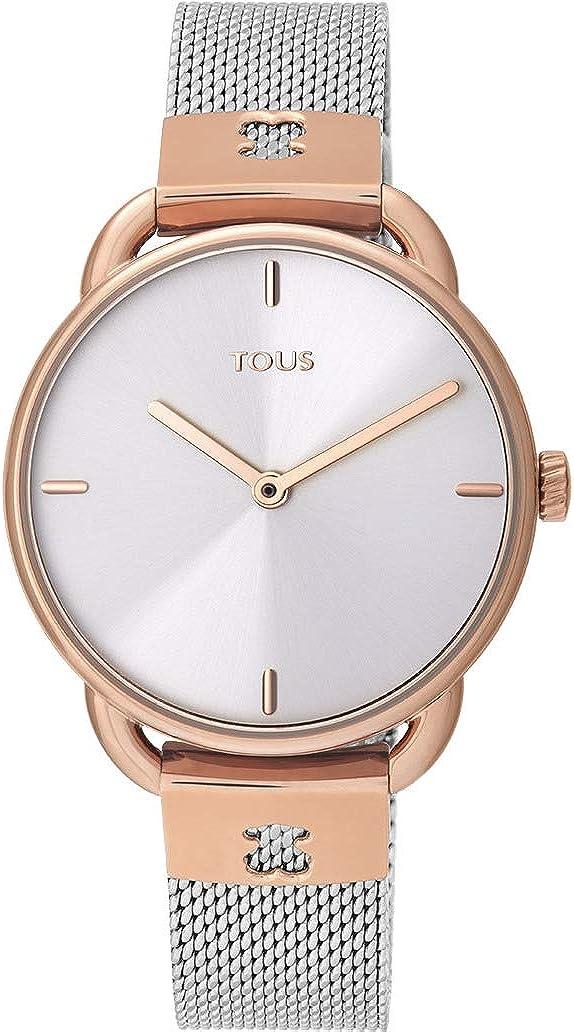 Tous Let Mesh 000351490 - Reloj para Mujer con Cadena a milanesa en Acero y Caja en PVD Rosado.