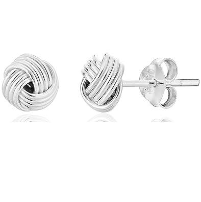 d3bd0122e DTPSilver - 925 Sterling Silver Knot Studs Earrings: Amazon.co.uk: Jewellery