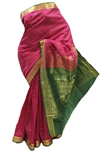 ASB3613 rosa e verde Arte della Seta Saree Indian Art Silk Saree Curtain Drape Fabric