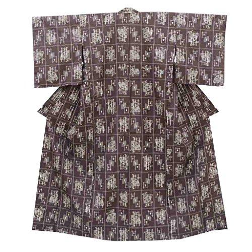 リサイクル 紬 中古 正絹 単衣 つむぎ 絣、扇文様 裄66cm 茶系 裄Lサイズ 身丈Mサイズ jj3036a05
