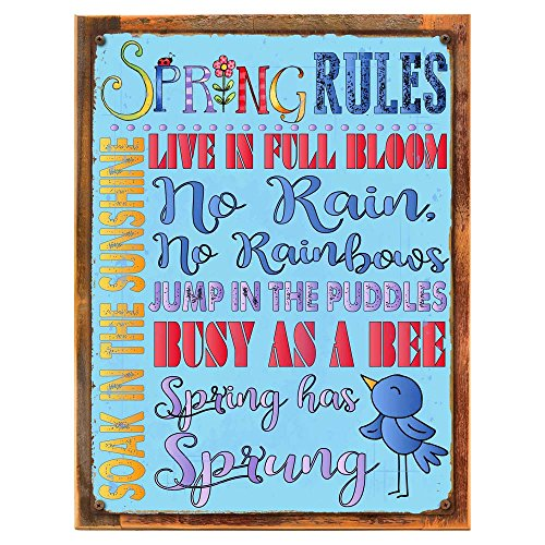 Wood-Framed Spring Rules Metal Sign, Easter, Seasonal Décor