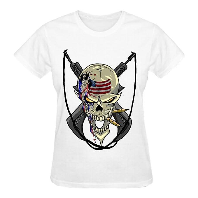 tweurh pistola de calavera con Cruz mujeres personalizadas camiseta de cuello redondo de color blanco