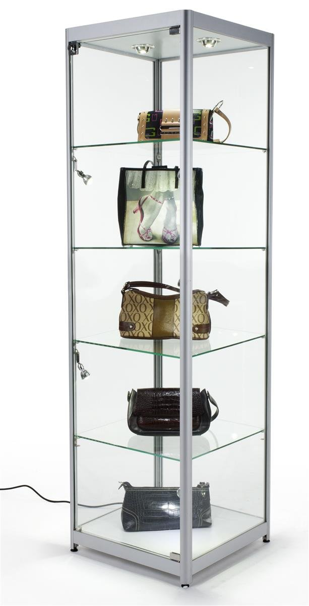 Amazon.com: Tempered Glass Curio Cabinet With 6 Halogen Lights,  Free Standing, Locking With Floor Levelers And 4 Green Edge Glass Shelves    Silver, ...