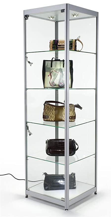 Tempered Glass Curio Cabinet With 6 Halogen Lights, Free Standing, Locking  With Floor