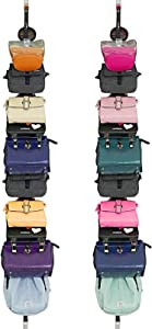 Vikodah Home Over-Door Hanging-Bag-Organizers Storage Collection Handbag-Holders Purse-Racks Closet Organization (Black 2 Pack)