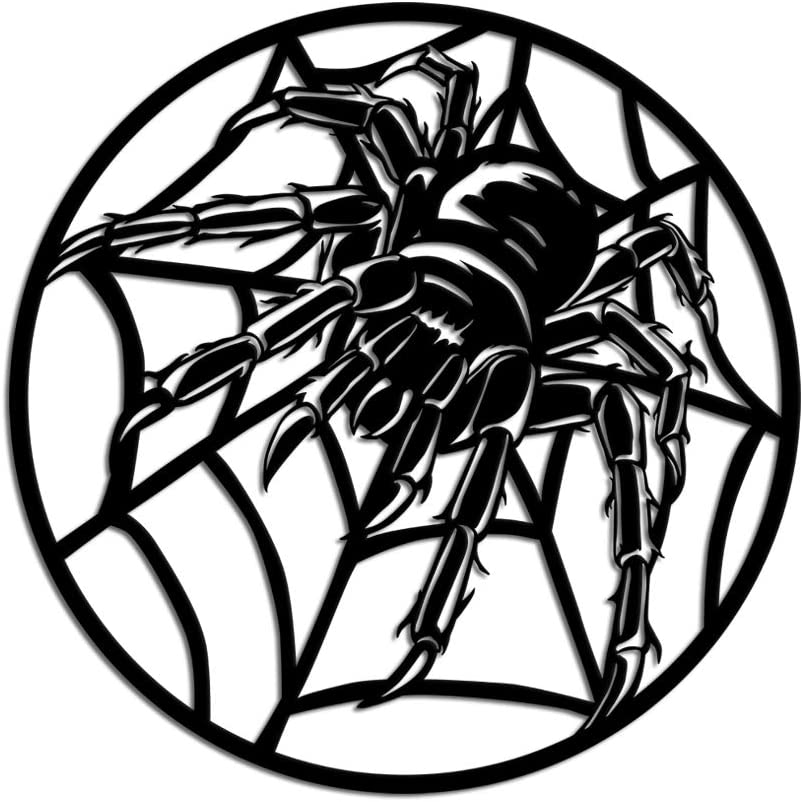 KLVOS Animlas Metal Wall Art Works Spider on Spiderweb 3D Wall Sculpture Metal Wall Decor Contemporary Halloween Home Office Decoration Bedroom Living Room Decor Sculpture 24x24inch